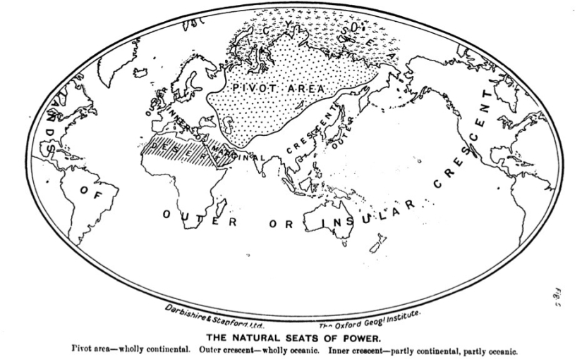 Mackinder's map of the natural seats of power (1904)